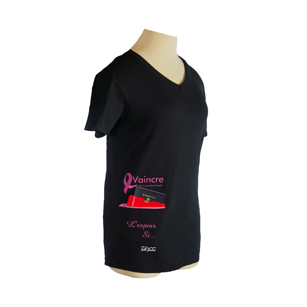 t shirt ruban rose en v non ajust fullpoche t shirt avec poche zipp e pour cellulaire ou. Black Bedroom Furniture Sets. Home Design Ideas